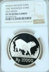 1987 Indonesia Silver 10000 Rupiah Wild Boar Ngc Pf 70 Ultra Cameo Perfection