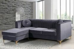 Contemporary Grey Velvet 2pc Sectional Living Room Furniture Channel Tufted Back