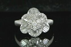 3550 18k White Gold 1.25ct Round Baguette Diamond Flower Cocktail Ring Band