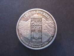 Vintage 1995 Coors Light Tap The Rockies 16 Gram 1/2 Oz .999 Silver Coin 2