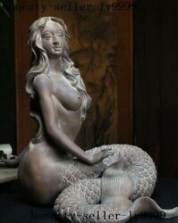 Chinese Zisha Pottery Unique Keeper Of The Ocean Mermaid Beauty Fish Statue
