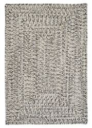 Corsica Silver Shimmer Country Farmhouse Concentric Rectangle Braided Area Rug