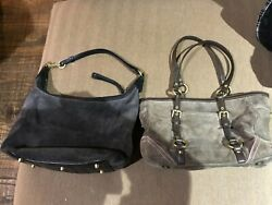 Lot of 2 Coach Hobo Women#x27;s Leather Shoulder Bag Brown Gray Leather amp; Suede $59.00