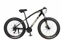 26 21 Speed 4.0 Fat Tire Mountain Bike Snow Bicycle Front Fuspension Black Mtb