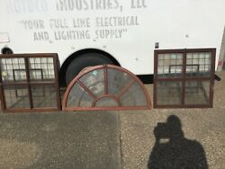 Antique Mahogany Windows In Pic Curved Glass Early 1900s 3 Pieces