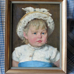 Antique French Oil Portrait Of Young Girl By Georges Petit Wery