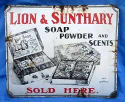 Vintage Lion And Sunthary Soap Powder And Scents Porcelain Enamel Old Germany Sign