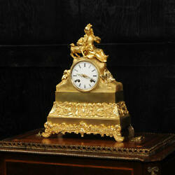 Early Japy Freres Ormolu Antique French Clock A Girl With Her Dog