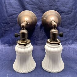 Rewired Pair 2 Early Electric Brass Sconces White Shades 106c