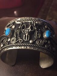 Navajo Silver And Turquoise Hand Made Vintage Cuff Bracelet