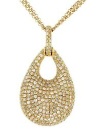 1.30ct Diamond 14kt Yellow Gold Cluster Tear Drop Double Chain Floating Pendant