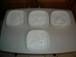Vintage Chalkware Lot Of 4 Flower Wall Hanging 3d Home Décor Unpainted