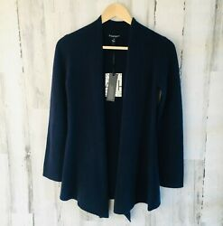 Nwt 41hawthorn Cardigan 100 Cashmere Sweater Navy Blue Angled Open Front Xs