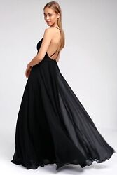 Lulus Xs Mythical Kind Of Love Crisscross Strappy Maxi Dress Black Georgette