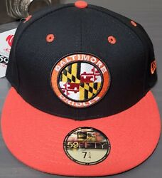 Mlb Baltimore Orioles 7 1/4 New Era 59fifty Maryland State Flag Logo Hat New Cap