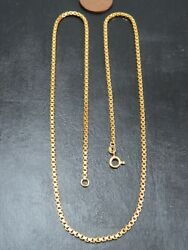 Vintage 18ct Gold Box Link Necklace Chain 19 1/2 Inch C.2000