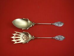 Art Silver C. 1860-1863 Coin Silver Salad Serving Set 2pc Gw Pierced Frosted