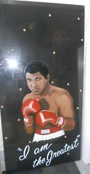 Muhammad Ali Awesome Portrait On Large Glass - Titled I Am The Greatest