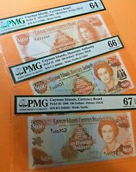 3 Cayman Islands 100 Dollar Notes - Pmg Certified - 1974 Nd 1982 1996 1998