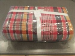 New 6pc Pottery Barn Quinn Plaid Madras King Quilt With 5 Shams