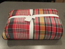New 5pc Pottery Barn Quinn Plaid Madras Queen Quilt With 4 Shams