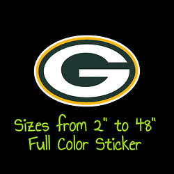 Green Bay Packers Full Color Vinyl Decal | Hydroflask Decal | Cornhole Decal 4