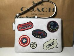 Nwt 3576 Coach | Marvel Gallery Pouch In Signature Canvas With Patches