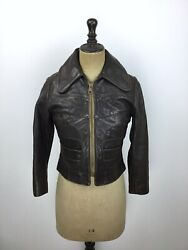 Womens 1960#x27;s Leather Jacket Vtg East West Style amp; Quality Vtg Hippy Leather