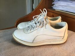 Louis Vuitton White Leather Rubber Shoes Size 38.5-8.5 1200 Laced Brown Bottom
