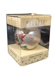 1982 Our First Xmas Together Glass Ball Ornament Carlton W/box