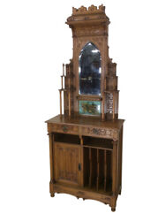 Outstanding European Gothic Music Cabinet Made In Spain 19th Century Oak