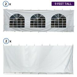 9'h 30x30' High Peak Tent Sidewall Kit Solid And Cathedral Window 16 Oz Block-out