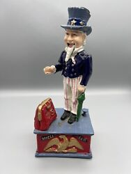 Antique Vintage Uncle Sam Mechanical Coin Bank Cast Iron Metal Working Condition
