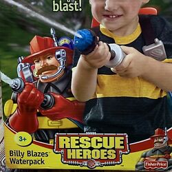 New Rescue Heroes Billy Blazes Waterpack Fisher-price Unopened Box 2002