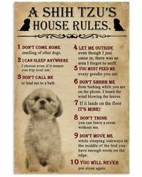 A Shih Tzu House Rules for Fan Dog Wall Decor Poster No Framed