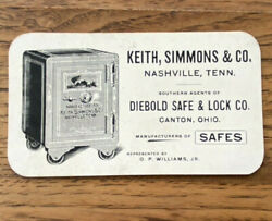 Vintage Diebold Safe And Lock Co Advertising Trade Card Keith Simmons Nashville Tn