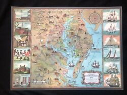 4 1950s Edwin Tunis Illustrated National Premium Beer Placemats Chesapeake Map