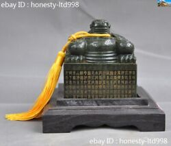 China Dynasty Jasper Green Jade Pure Hand-carved Dragon Statue Seal Stamp Signet