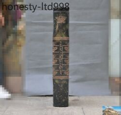Huge China Liangzhu Culture Old Jade Carved Text Beast Statue Yu Cong Jade Cong