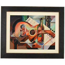 Cubist Oil Painting Still Life With Guitar Serge Magnin 1960