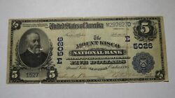 5 1902 Mount Kisco New York Ny National Currency Bank Note Bill Ch. 5026 Rare