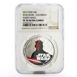 Niue 2 Dollars Star Wars Darth Maul Pf-70 Ngc Colored Silver Coin 2012