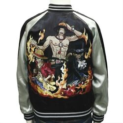One Piece Brother-in-law Luffy Ace Sabo Embroidery Reversible Sukajan New