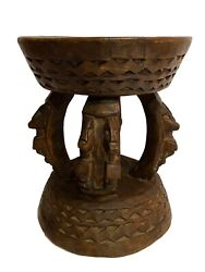 African Dogon Carved Wood Milk Stool Mali 10 H