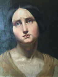 19thc Antique Oil Realism Paiinting Portrait Of A Woman Gericault