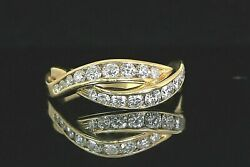 3950 14k Solid Yellow Gold 0.70ct Round Diamond Crossover Ring Band Size 8