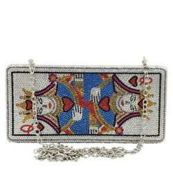 Novelty Poker Queen Women Crystsal Evening Bags Rhinestones Box Clutch Handbags $45.99