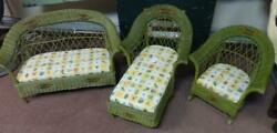 Unusual Antique Childand039s 3pc. Wicker Set Sofa Setee And Unusual Rocking Chair