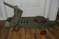 Antique Vtg Roly Toys Arden Gun Games Wooden Ride On Army Fighter Plane Missile