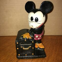 Rare Early 1930's Walt Disney Crown Toy Mickey Mouse Treasure Chest Coin Bank
